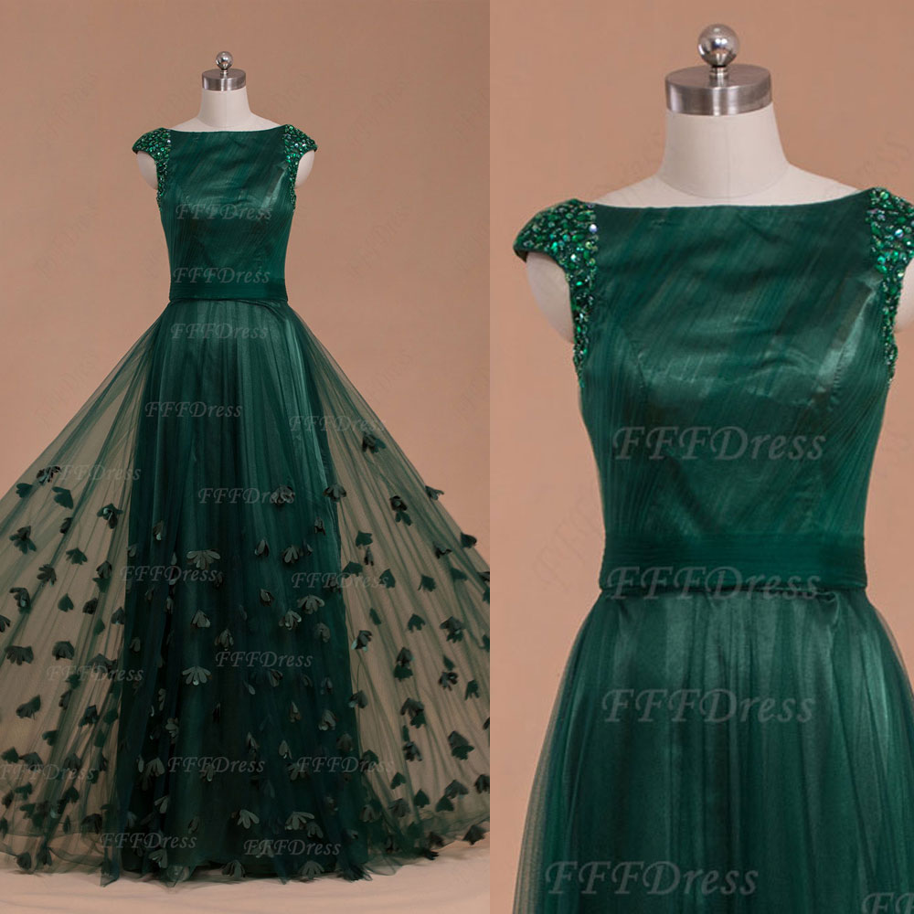 12016125663 Forest green modest long prom dresses cap sleeves with hand sewn flowers